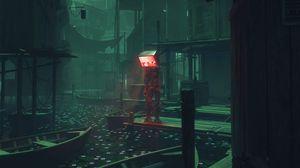 Preview wallpaper cyborg, screen, sad, fantasy, dark