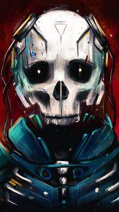 Preview wallpaper cyborg, skull, skeleton, art