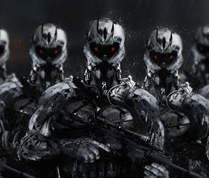 Preview wallpaper cyborgs, soldiers, rifles, weapons, art