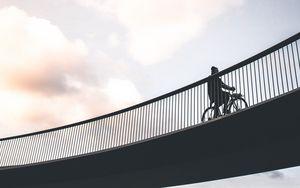 Preview wallpaper cyclist, minimalism, bridge, sky
