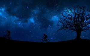 Preview wallpaper cyclist, starry sky, silhouette
