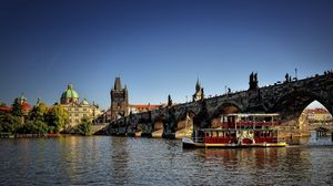 Preview wallpaper czech republic, prague, city, river, bridge