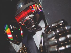 Preview wallpaper daft punk, helmet, man, music