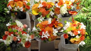 Preview wallpaper dahlias, roses, calla lilies, freesia, bouquets, many, orange