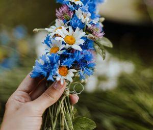 Preview wallpaper daisies, cornflower, hand, flowers, weaving