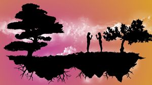 Preview wallpaper dance, island, trees, night