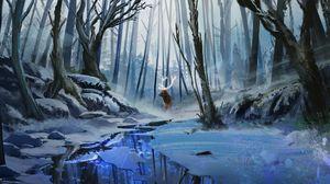 Preview wallpaper deer, art, forest, river, winter