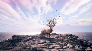 Preview wallpaper deer, art, photoshop, sea, shore, sky