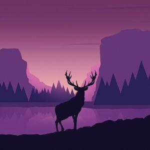 Preview wallpaper deer, art, vector, mountains, landscape