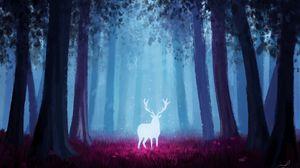 Preview wallpaper deer, forest, art, light, glow