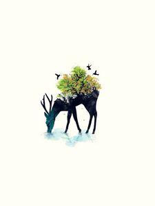 Preview wallpaper deer, minimalism, vector, background, nature