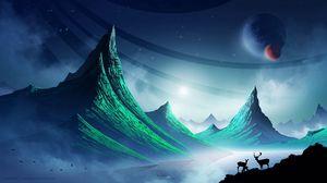 Preview wallpaper deer, mountains, art, landscape, night, space