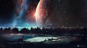 Preview wallpaper deer, planet, art, space, stars