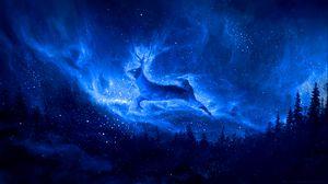 Preview wallpaper deer, silhouette, starry sky, art, fantasy