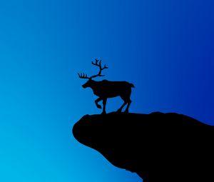 Preview wallpaper deer, silhouette, vector, art, blue, dark