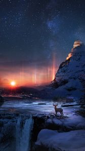 Preview wallpaper deer, winter, night, art, snow