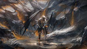 Preview wallpaper demon, dragon, cave, swords
