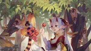 Preview wallpaper demon, girl, horns, anime, art