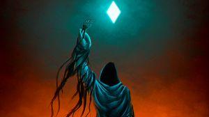Preview wallpaper demon, hood, cloak, skeleton, rhombus, art