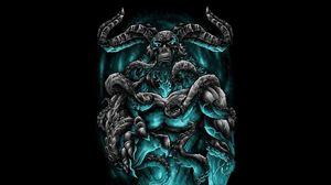 Preview wallpaper demon, horns, tentakles, art