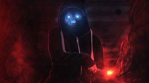 Preview wallpaper demon, skull, hood, dark, glow