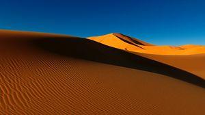 Preview wallpaper desert, dunes, sand, shadow, hills