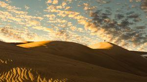 Preview wallpaper desert, dunes, sand, silhouette, alone