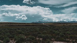 Preview wallpaper desert, mountains, road, horizon, landscape