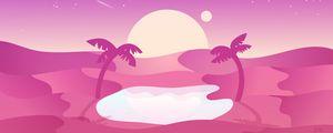 Preview wallpaper desert, palm trees, oasis, vector, art, pink