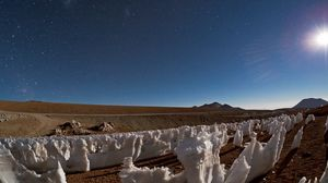 Preview wallpaper desert, salt, sun, stars