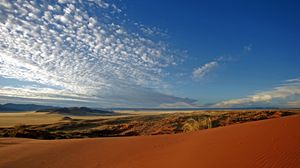 Preview wallpaper desert, sand, clouds, peryevy