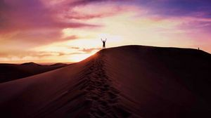 Preview wallpaper desert, sand, man, sky, evening
