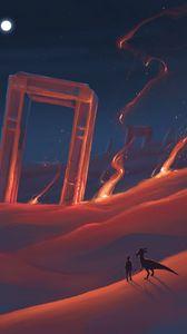 Preview wallpaper desert, silhouette, dinosaur, art