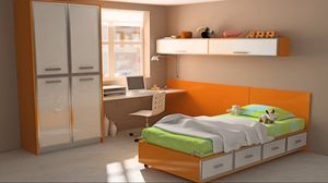 Preview wallpaper design, toys, interiors, apartment, room, computer, colorful, bed, orange, style, table, wardrobe, bright