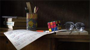Preview wallpaper desk, glasses, instruction, rubiks cube