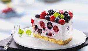 Preview wallpaper dessert, cake, raspberries, sweet, fruit, blueberry, black currant, food, cream