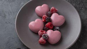 Preview wallpaper dessert, hearts, berries, raspberries, blackberries, strawberries