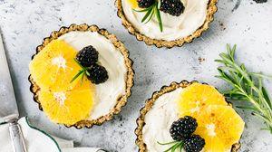 Preview wallpaper dessert, sweet, pastry, baskets, fruit, berries, cream