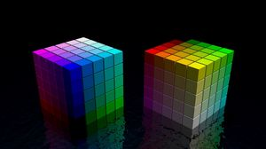 Preview wallpaper dice, cube, colorful, bright, black, space
