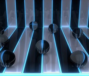 Preview wallpaper digital art, 3d, balls, bands
