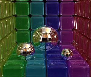 Preview wallpaper digital art, 3d, balls, cubes