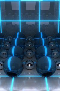 Preview wallpaper digital art, 3d, balls, neon