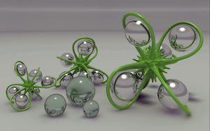 Preview wallpaper digital art, balls, figurines, glass