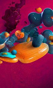 Preview wallpaper digital art, bubbles, shapes, 3d