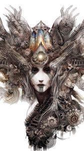Preview wallpaper digital art, face, girl, art, mechanism