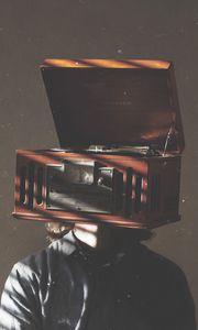 Preview wallpaper digital art, gramophone, man, head, music, creative