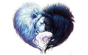 Preview wallpaper digital art, white lion, black lion