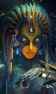 Preview wallpaper digital art, woman, cyborg