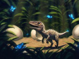 Preview wallpaper dinosaur, butterflies, grass, art
