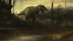 Preview wallpaper dinosaur, fangs, aggression